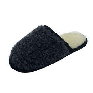 Hausschuhe Pantoffeln aus Wolle - LUNA : EUR 41/42 Schwarz