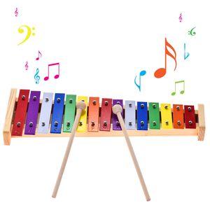 Buntes Glockenspiel Xylophon Holz & Aluminium Percussion Musikinstrument Pädagogisches Spielzeug 15 Töne mit 2 Mallets für Baby Kinder Kinder