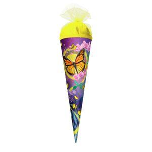 Geschenk-Schultüte klein Schmetterling 50 cm - rund Tüllverschluss - Zuckertüte