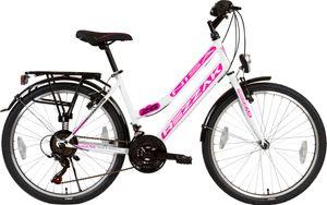 26 Zoll Mädchen Fahrrad Damen Fahrrad Citybike 21 Gang Shimano Drehschaltung RH ca 47cm Weiss pink -050