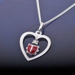 Kinderkette Herz Anhänger mit Marienkäfer: Kinderschmuck Silber 925
