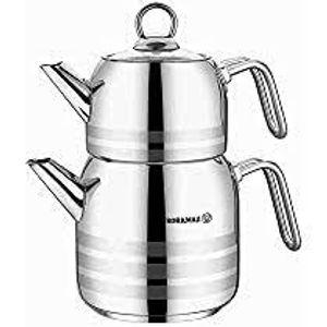 Korkmaz 3-teiliges Teekannenset Edelstahl A098-03 2,9 L Kapazität SIlber