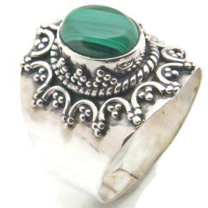 Malachit Ring 925 Silber Sterlingsilber Damenring grün (MRI 94-10),  Ringgröße:52 mm / Ø 16.6 mm