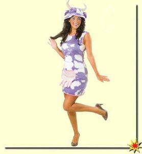 Kostüm Lila Kuh, Tier-Kleid, Größe:42