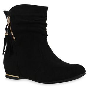 Mytrendshoe Damen Stiefeletten Keilstiefeletten Keilabsatz Zipper Schuhe 835733, Farbe: Schwarz, Größe: 38