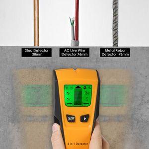 Wanddetektor Stud Finder 3 in 1 Multifunktionales Ortungsgerät Metalldetektor digitaler LCD-Wanddetektor Metall Holz AC Kabel Live Wire Scanner