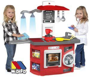 Molto Spielküche Kinderküche Kitchen mit 12-tlg. mit Zubehör und Licht rot