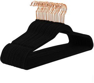 50 Kleiderbügel Samt, 45 x 23,8 x 0,6 cm, roségold schwarz
