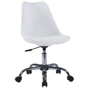 Duhome Bürostuhl Drehstuhl Schreibtischstuhl Kunststoff Kunstleder weiß Retro Design