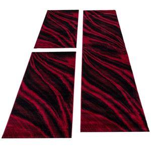 Kurzflor Teppich Läuferset 3-teilig Bettumrandung Teppichläufer Rot meliert, Bettset:2 x 80x150 cm + 1 x 80x300 cm