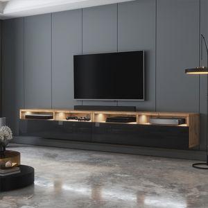 Selsey TV-Schrank  REDNAW - modernes TV-Board in Wotan Eiche Matt / Schwarz Hochglanz mit LED, stehend / hängend, 200 cm breit