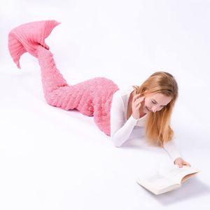 Meerjungfrau Decke-personalisierte handgewebte Geschenk(Erwachsene 180x90CM S1-Rosa)