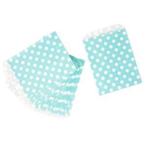 Oblique Unique 24 Geschenktüten Papiertüten Geschenktaschen Tüten gepunktet für Kinder Geburtstag Mitgebsel - türkis