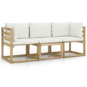 vidaXL 3-Sitzer-Gartensofa mit Creme Kissen