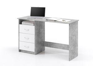 ADRIA Schreibtisch mit 3 Schubkästen sowie einem offenen Fach - Beton Nachbildung / Schubkästen Weiss Nachbildung - BHT ca. 120 / 76 / 50 cm