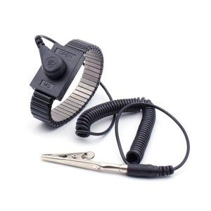 ESD Schutz Metallketten-Armband 4 mm Druckknopf Spiralkabel 1,8 m und Adapter