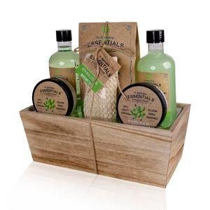 Accentra  Wellness Geschenkset Olive in Holzkorb, 6tlg Pflegeset für Frauen mit Olivenöl angereichert