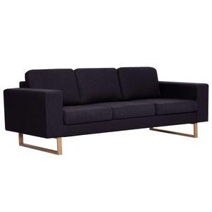 vidaXL 3-Sitzer-Sofa Stoff Schwarz