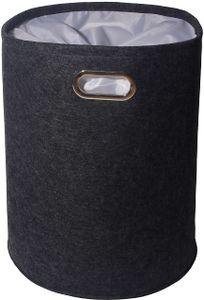 Theo&Cleo Premium Wäschekorb Filz mit Sichtschutz - moderner Wäschesammler - hochwertiger und robuster Wäschepuff Grau - Designer Wäschesack - Filzkorb je 50 Liter