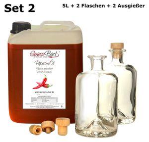 Peperoniöl - Chiliöl 5L inkl. 2 Flaschen u. 2 Ausgießer! Angenehm scharf! 100% cholesterin- und laktosefrei!