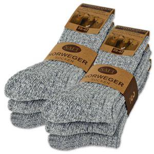 6 Paar Norweger Socken mit Wolle Damen & Herren Wintersocken Schwarz Grau Anthrazit AD220 - Grau 43-46