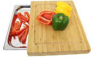 Premium Bambus Schneidebrett mit Auffangschale groß Küchenhelfer aus Bambus mit Edelstahl Auffangbehälter integriert B: 35,5 L: 27,5 T: 4 cm