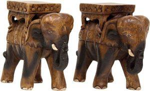 Paar Elefanten Holz Blumenhocker Blumenständer Massiv Asia Möbel Asien 23Cm '2
