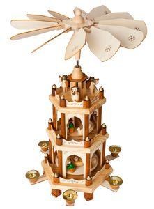 BRUBAKER Weihnachtspyramide Holzpyramide 3 Etagen - 45 cm hoch