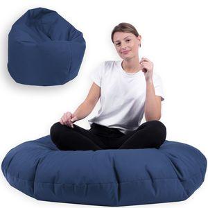 Sitzsack 2 in 1 mit Füllung Indoor Outdoor Sitzkissen 3 Größen Yoga Kissen BeanBag (100cm Durchmesser, Marine)