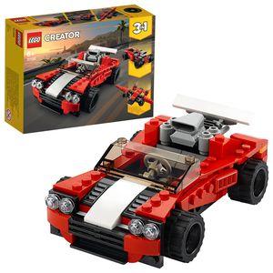LEGO 31100 Creator 3-In-1 Sportwagen Spielzeug Set mit Spielzeugauto, Flugzeug und Hot Rod, kreatives Spielzeug aus Bausteinen, für Jungen und Mädchen ab 6 Jahre