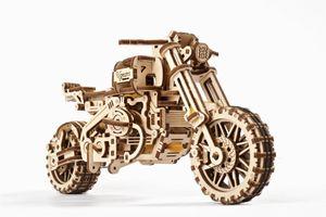 Ugears - Holz Modellbau Scrambler UGR-10 Motor Bike Motorrad mit Beiwagen 380 Teile