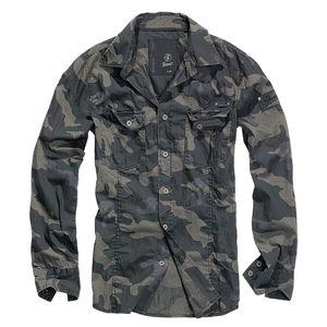 Brandit - SlimFit Shirt Darkcamo Hemd Outdoor Tarnmuster Größe XL
