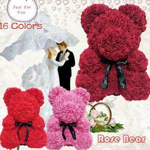 25cm Rot Rosenbär Teddy bär Simulierter Rosenblumenbär für Geburtstag Hochzeitstag Valentinstag, mit Box