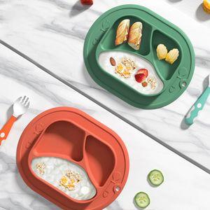 Baby Teller Silikon Rutschfeste Tischset für Kleinkinder Babys Kinder Tischset mit Saugnäpfen BPA-frei Spülmaschinen-und mikrowellengeeignet (Rot)