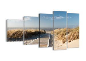 "Leinwandbild - 100x60 cm - ""Hinter der Düne, im Rascheln des Grases""- Wandbilder - Meer Strand Düne - Arttor - EG100x60-2657"