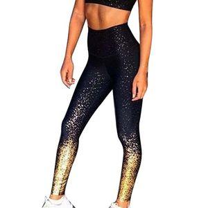 Frauen Hohe Taille Push Up Fitness Yoga Hose Sport Leggings Laufhose Schwarz L.