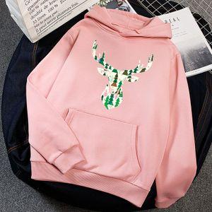 Frauen Warm Hoodie Deer Print Vliese Tasche Loose Sweatshirt Pullover Casual Tops