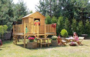 Kinderspielhaus Spielhaus Holz-Gartenhaus Spielhütte aus Holz für Kinder - (3994)