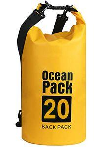 Wasserdichter Dry Bag, 20L Wasserdicht Taschen mit Schnalle, (Gelb) wasserdichte Packsäcke Verstellbaren Schultergurten für Boot, Kajak, Angeln, Rafting, Schwimmen, Strand