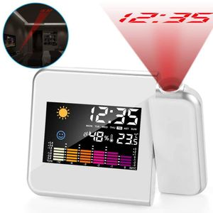 Wecker mit Projektion, LED Digital Projektionswecker USB Aufladbar Wecker/Taktgeber Temperaturanzeige/Hygrometer/Uhrzeit & Datumsanzeige/LCD Displaybeleuchtung/LED Backlight/Snooze (Weiß)
