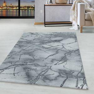 Kurzflor Design Teppich Wohnzimmerteppich Marmor Muster Marmoriert Silber, Farbe:Silber, Grösse:160x230 cm