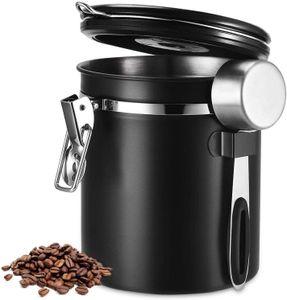 Kaffeedose 1500 ml in  mit Dosierlöffel Höhe: 15cm Kaffeedosen Kaffeebehälter aus Edelstahl Farbe:schwarz