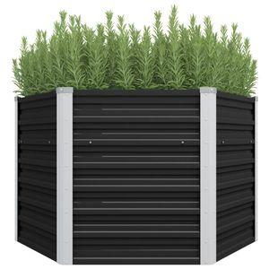 Garten-Hochbeet Anthrazit 129 x 129 x 77 cm Verzinkter Stahl
