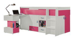 """Kinderbett / Hochbett mit Schrank und Schreibtisch """"Felipe"""" 21, Rosa / Weiß - Liegefläche: 90 x 200 cm"""