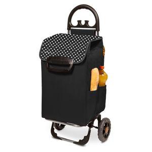 Einkaufstrolley HIMY XL schwarz gepunktet mit 78l Fassung & Seitentaschen
