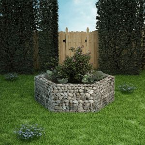 Sechseckiges Gabionen-Hochbeet Garten-Hochbeet Hochbeet 160×140×50 cm