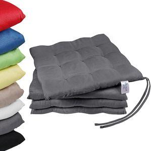 NatureMark 4er Set Stuhlkissen mit Bändern Gr. 40x40 cm Sitzkissen gefüllt, Anthrazit grau