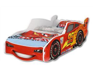 iGLOBAL Kinderbett Lightning McQueen Autobett Cars Bett Jugendbett Juniorbett Bett mit Lattenrost Stellage Schaumstoffmatratze 140x70 cm