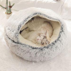 Hundebett Haustierbett 50CM (<6kg), Katzenbett Plüsch Haustierbett, Katzenbett-Hundehaus-Welpen-Kissen-tragbare warme weiche Bequeme Hundehütte 50CM (<6kg) ,grau