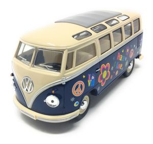 Volkswagen Samba Bus Flower Power blau / beige Modellauto 1962 VW T1 Bulli 1:24